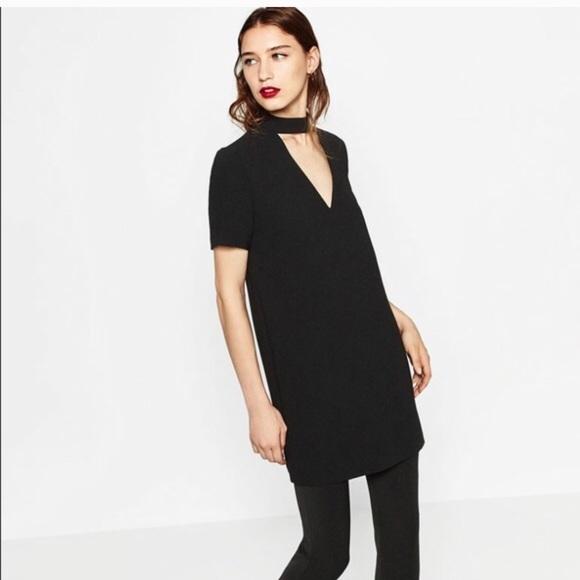 0933ff56 Zara Mini Dress with Choker Collar. M_5a9216291dffda72127fbb2f